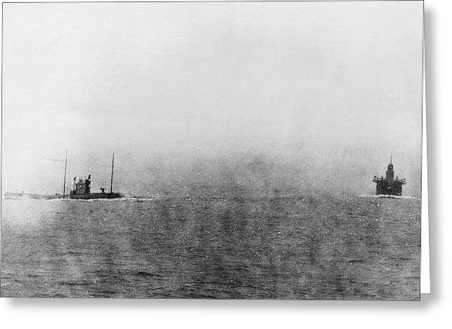 German U-boat Chasing Merchant Ship Greeting Card by Library Of Congress