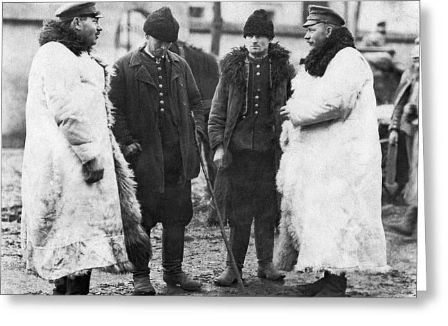 Germans Interrogate Peasants Greeting Card by Underwood Archives