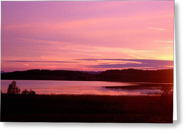 Germany , Forggen Lake, Sunset Greeting Card by Panoramic Images