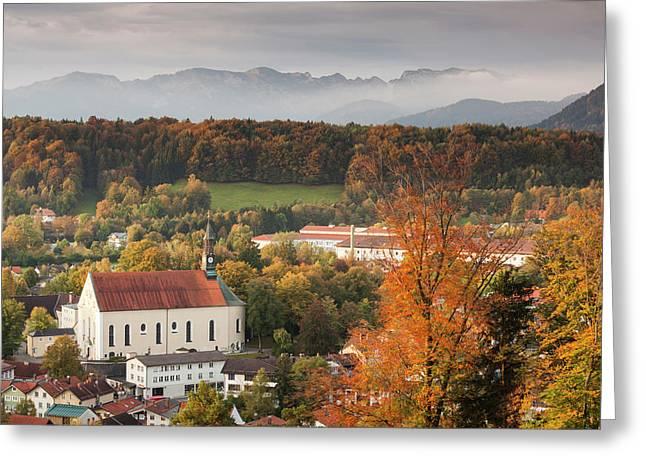 Germany, Bavaria, Bad Tolz, Elevated Greeting Card