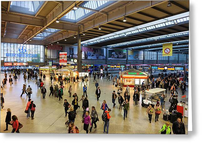 Germany, Bavaria, Munich, Hauptbahnhof Greeting Card by Walter Bibikow