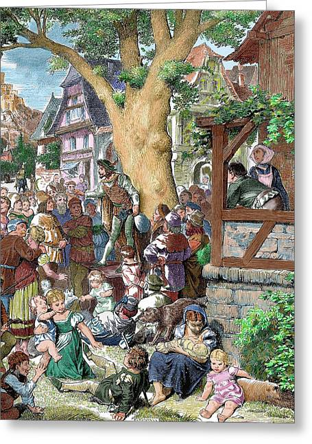 Germany Minstrel Reciting Poems Greeting Card by Prisma Archivo