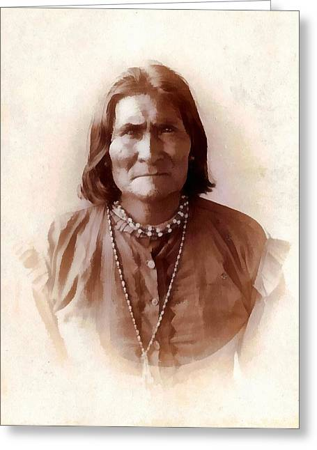 Geronimo Native American Chief Greeting Card by Unknown