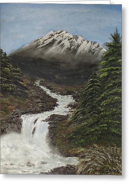 Greeting Card featuring the painting Gerri's Mountain by J L Zarek