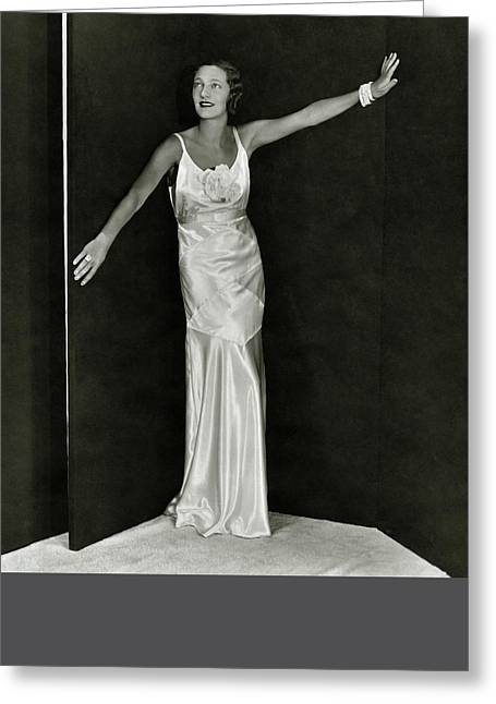 Gertrude Lawrence In A Molyneux Dress Greeting Card by George Hoyningen-Huene