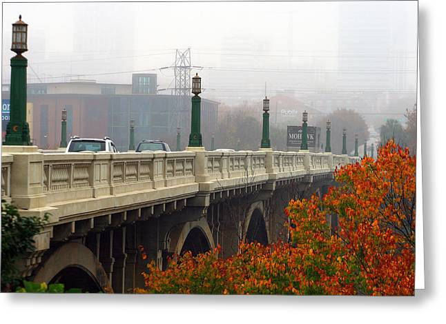Gervais Street Bridge In The Fog Greeting Card