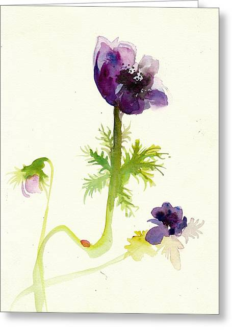 Gesture Anemone Watercolor - Purple Blue Anemone Watercolor Painting Greeting Card