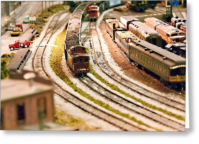 Trains And Train Station Greeting Card by Vizual Studio