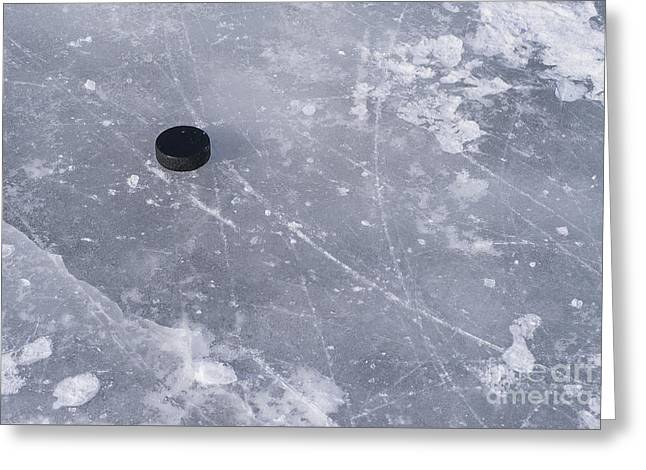 Get The Puck Outta Here Greeting Card by Steven Ralser