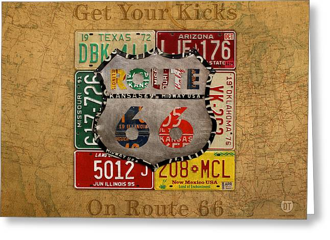 Get Your Kicks On Route 66 Vintage License Plate Art On Worn United States Highway Map Greeting Card