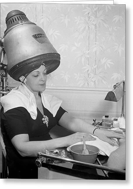 Getting A Manicure While Drying Hair Greeting Card