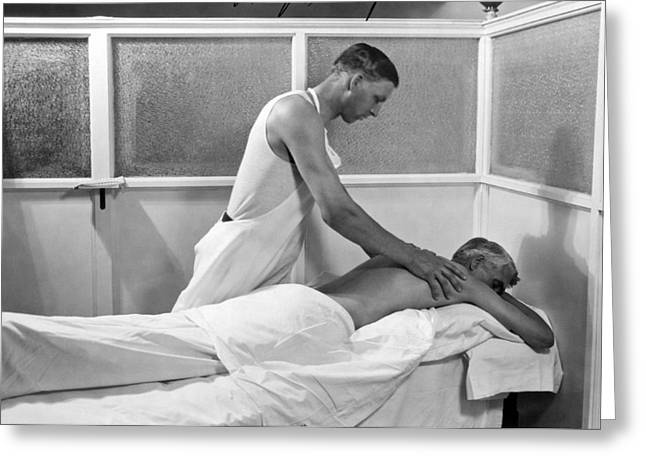 Getting A Massage At Sanitarium Greeting Card by Underwood Archives