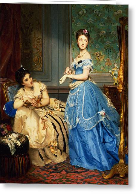 Getting Dressed, 1869 Greeting Card by Charles Edouard Boutibonne