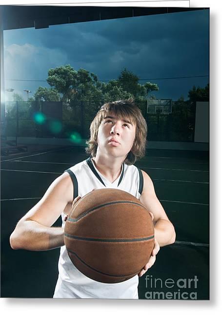 Getting Ready To Shoot Basketball Greeting Card by Nikita Buida
