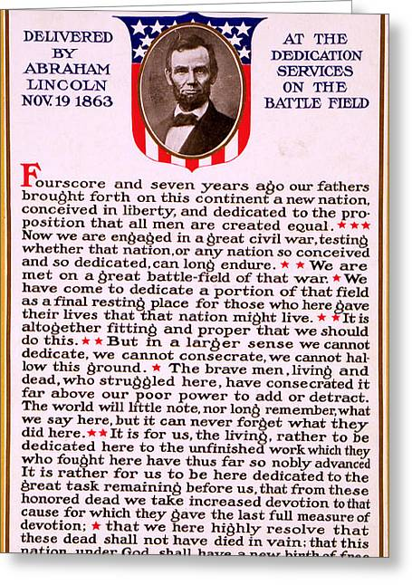 Gettysburg Address By Abraham Lincoln  Greeting Card by M T Sheahan