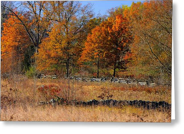 Greeting Card featuring the photograph Gettysburg At Rest - Autumn Looking Towards The J. Weikert Farm by Michael Mazaika