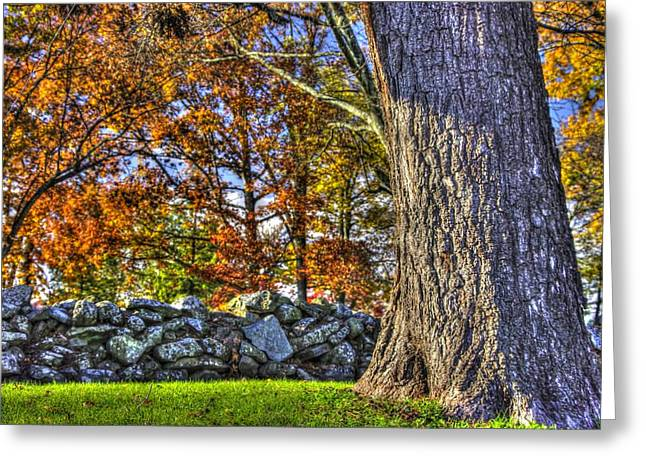 Greeting Card featuring the photograph Gettysburg At Rest - Stone Fence Near Old Cyclorama Visitors Center by Michael Mazaika