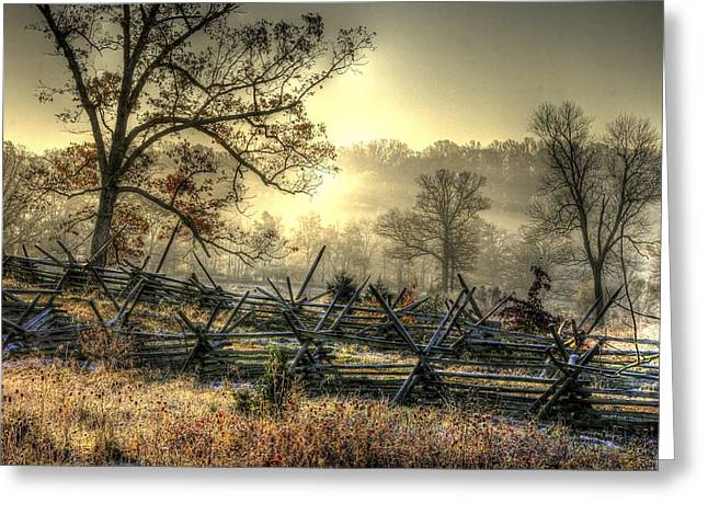 Greeting Card featuring the photograph Gettysburg At Rest - Sunrise Over Northern Portion Of Little Round Top by Michael Mazaika