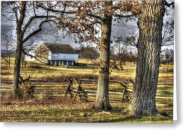Greeting Card featuring the photograph Gettysburg At Rest - Winter Edward Mc Pherson Farm by Michael Mazaika