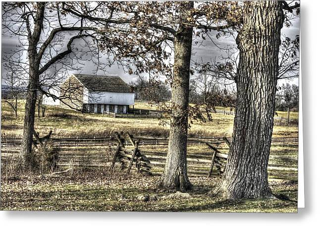 Greeting Card featuring the photograph Gettysburg At Rest - Winter Muted Edward Mc Pherson Farm by Michael Mazaika