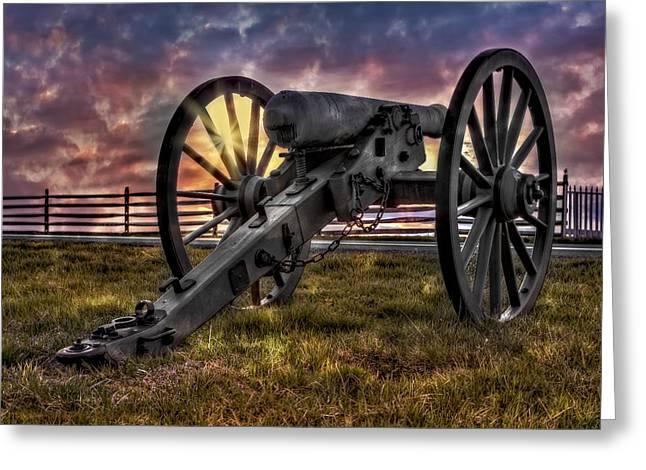 Gettysburg Battlefield Cannon Greeting Card by Susan Candelario