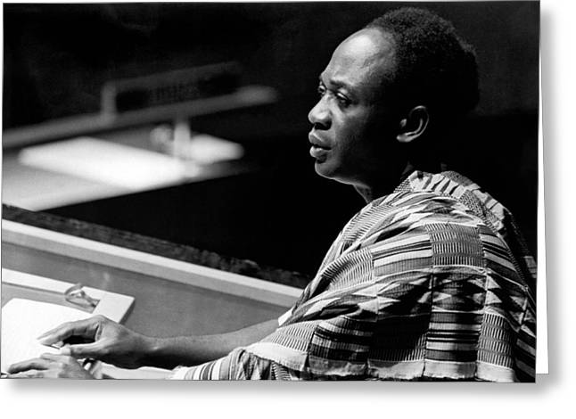 Ghana President Kwame Nkrumah Greeting Card by Underwood Archives
