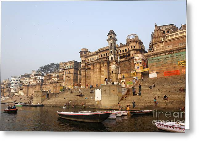 Ghats And Boats On The River Ganges At Varanasi In India Greeting Card