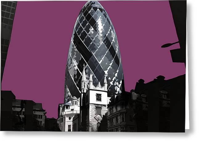 Gherkin - Purple Reign Greeting Card by Big Fat Arts