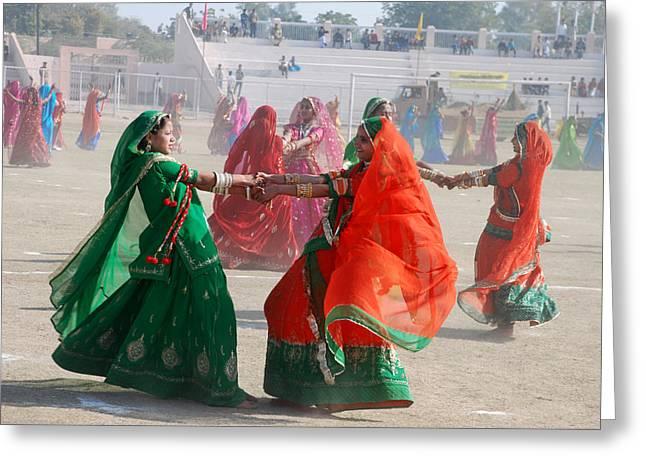 Ghoomar Dance In Rajasthan Greeting Card by Rakesh Sharma