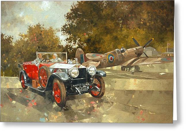 Ghost And Spitfire Oil On Canvas Greeting Card by Peter Miller