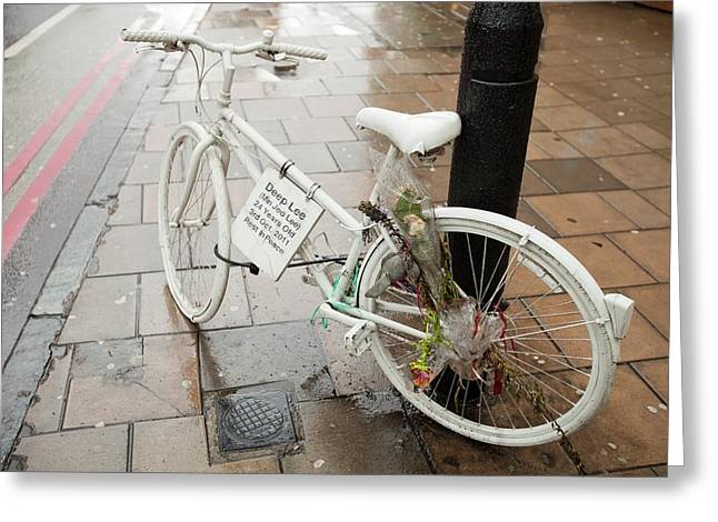 Ghost Bike Tribute To A Cyclist Greeting Card by Ashley Cooper