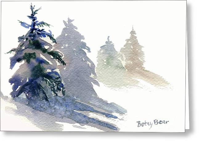 Ghost Spruce Greeting Card by Betsy Bear