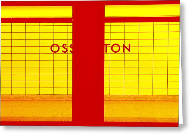 Ghost Station In Red And Yellow Greeting Card by Valentino Visentini