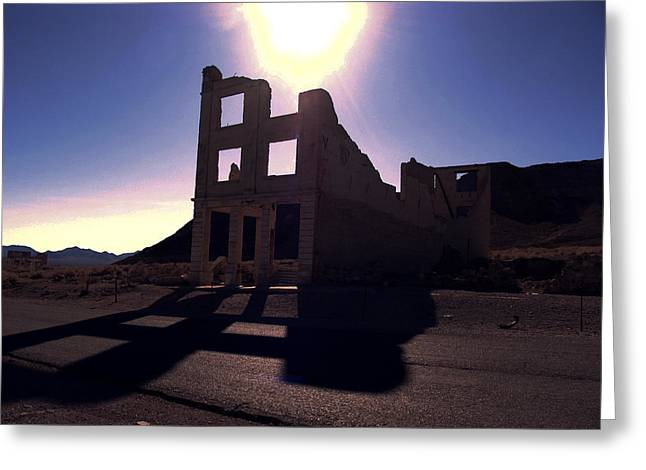 Ghost Town - Bank Closed Greeting Card by Maria Arango Diener