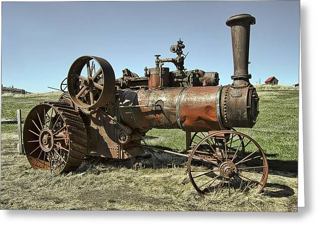 Ghost Town Steam Tractor Greeting Card by Daniel Hagerman