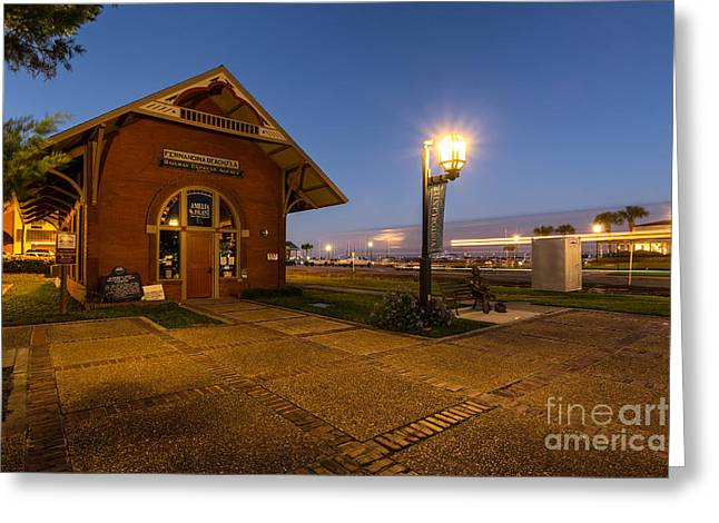 Ghost Train At The Old Fernandina Train Depot Greeting Card