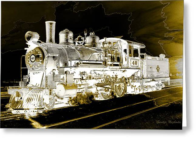 Ghost Train Greeting Card by Gunter Nezhoda