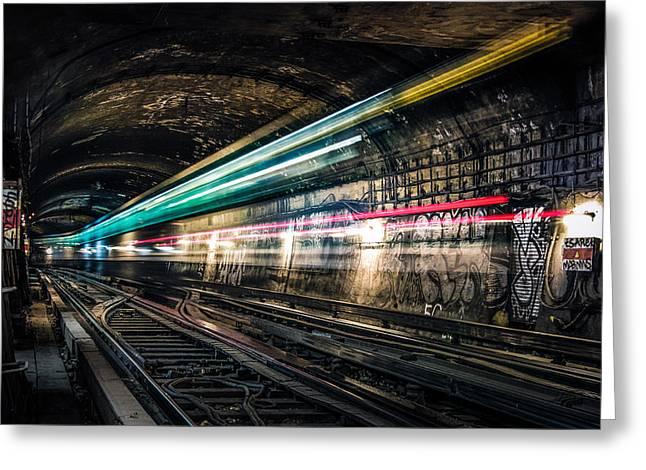 Ghost Train Greeting Card by Xavier Liard