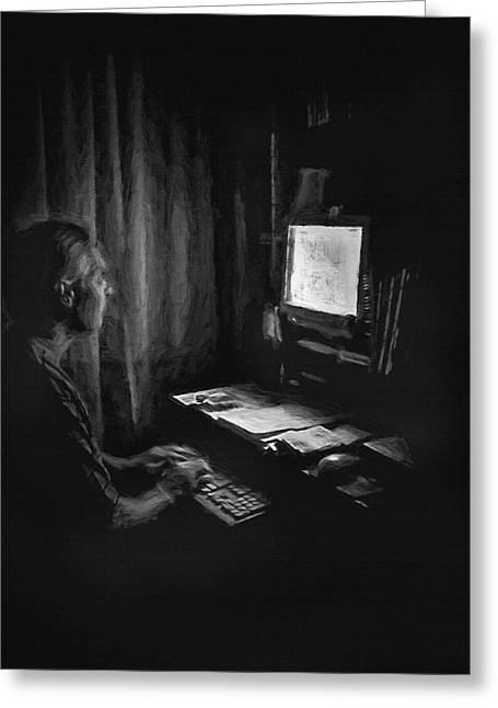 Ghost Writer Greeting Card by Steve Ohlsen