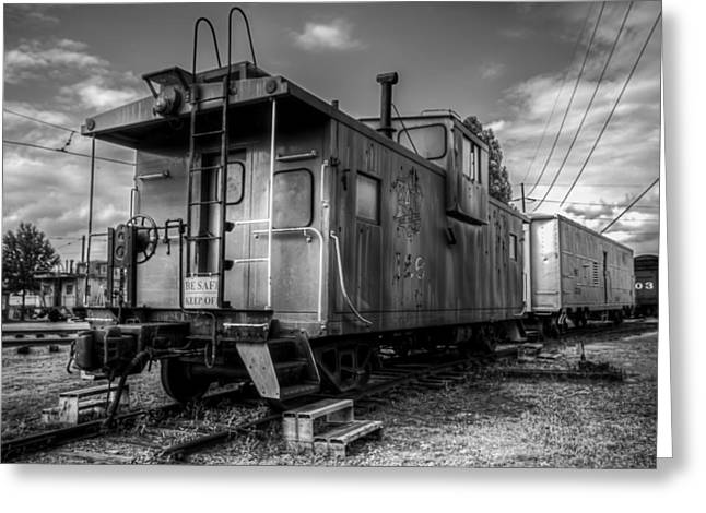 Ghostly Caboose Greeting Card by James Barber