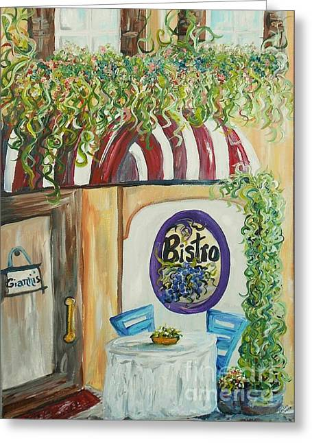 Gianni's Bistro Greeting Card by Eloise Schneider