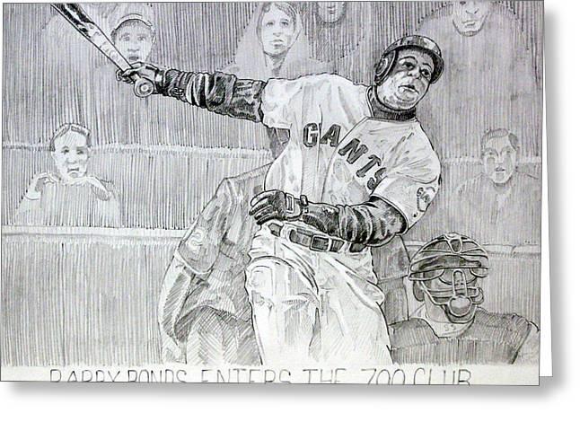 Giant Baseball Ployer Bary Bonds Enters The 700 Club Greeting Card by Gary Beattie