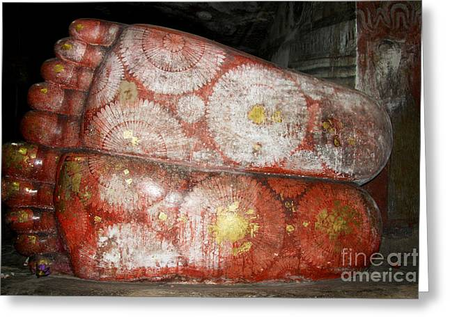 Giant Buddha Feet Greeting Card by Jane Rix