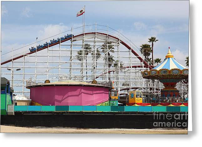 Giant Dipper At The Santa Cruz Beach Boardwalk California 5d23659 Greeting Card by Wingsdomain Art and Photography