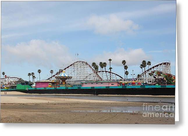 Giant Dipper At The Santa Cruz Beach Boardwalk California 5d23709 Greeting Card by Wingsdomain Art and Photography