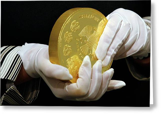 Giant Gold Coin, Russia Greeting Card by Science Photo Library