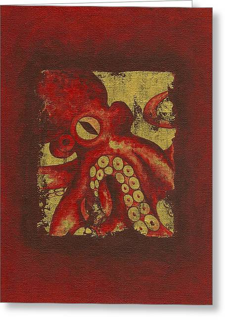 Giant Red Octopus Greeting Card
