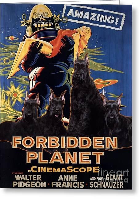 Giant Schnauzer Art Canvas Print - Forbidden Planet Movie Poster Greeting Card by Sandra Sij