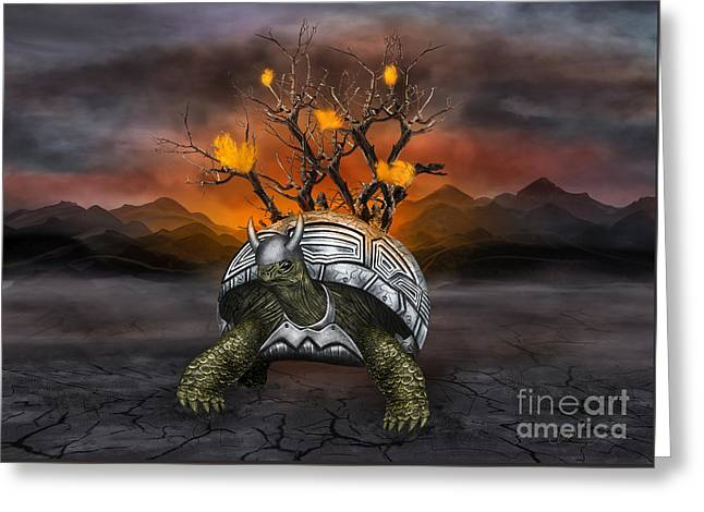 Giant Turtle Warrior In The Old Metal Armor... Greeting Card