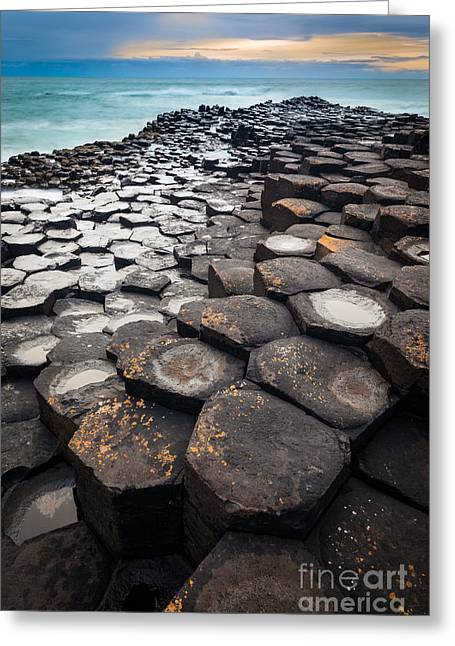 Giant's Causeway Hexagons Greeting Card by Inge Johnsson